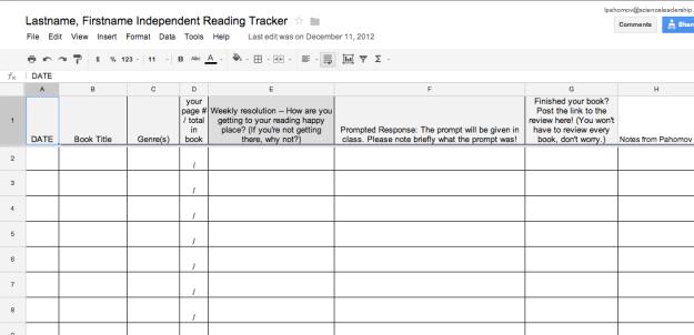 Reading Tracker sample