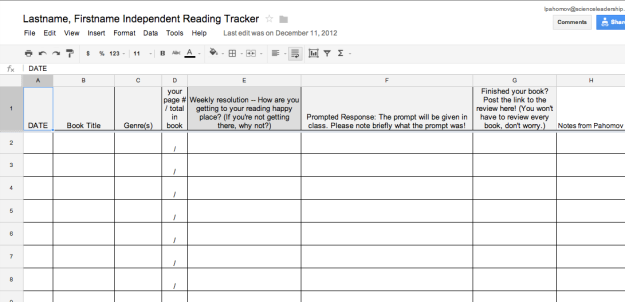 Independent Reading Weekly Reading Tracker Class Notes